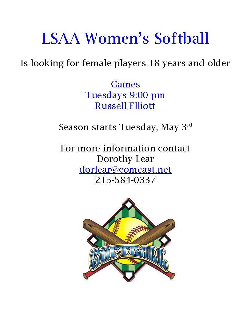 LSAA Women's Softball Flyer 2016