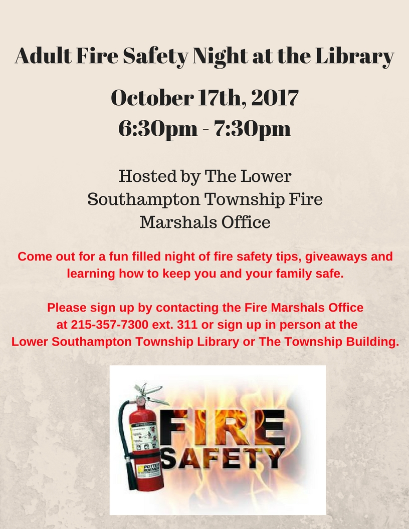 Adult Fire Safety Night at the Library