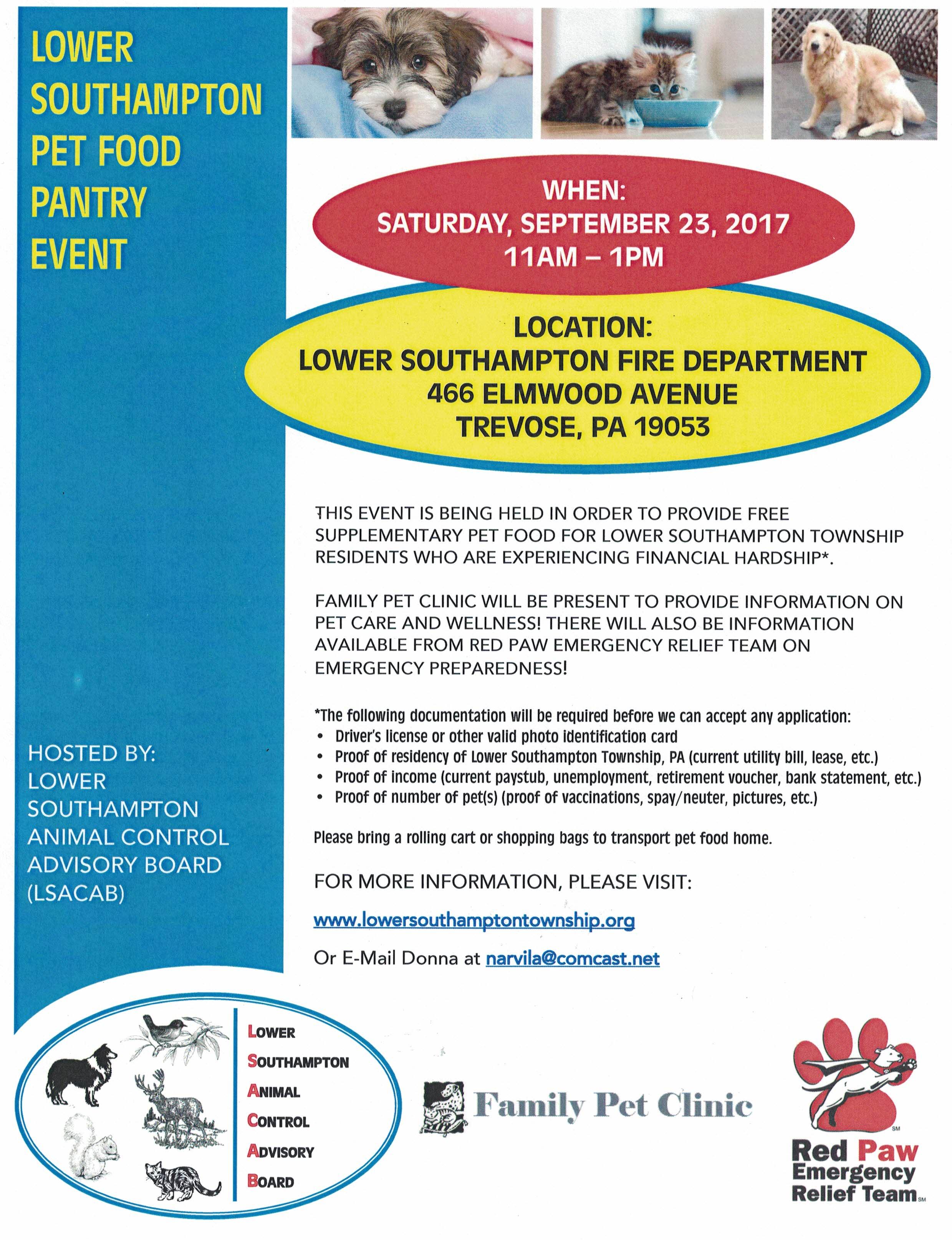 pet food event flyer
