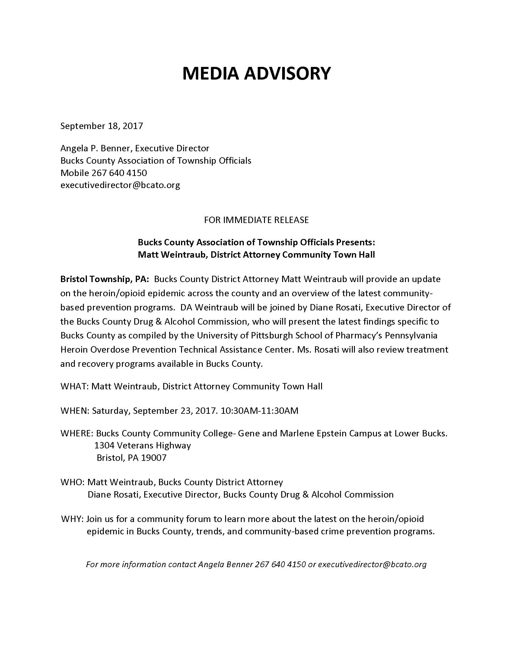 MEDIA ADVISORY District Attorney Weintraub. Town Hall 9.23